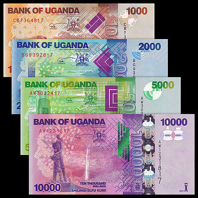 Uganda 6 PCS Set (2015),5 10 20 50 100 200 Shillings,UNC