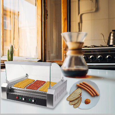 Quality Commercial 30 Hot Dog Hotdog 11 Roller Grill Cooker Machine w/ Cover USA