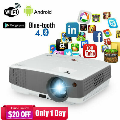EUG HD Portable Android Smart Projector 3600lm Bluetooth Wifi 1080p Home Theater