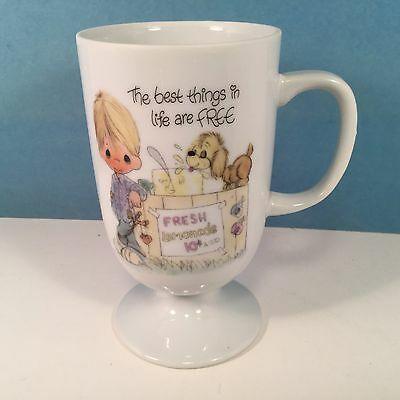 Precious Moments Footed Mug BEST THINGS IN LIFE ARE FREE Vtg 1980 Coffee Tea Cup