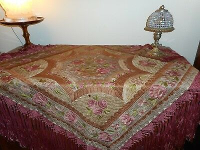 Large antique silk hand embroidered cloth Matyo