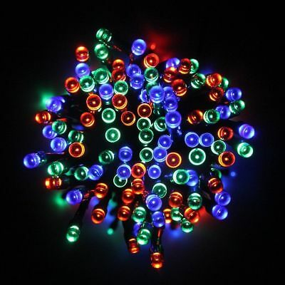 100 Led Multi Coloured Solar Powered Fairy String Lights RGB Garden Party Xmas