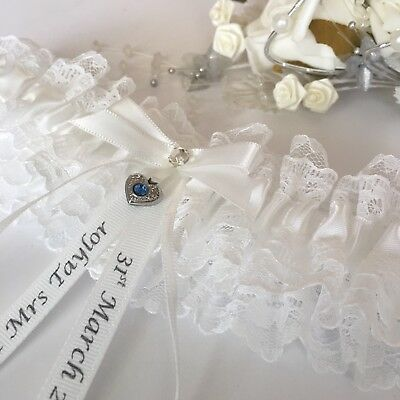 Wedding Garter, Plus Size/Large, Ivory With Blue Heart,