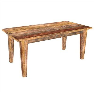 Petherton Solid Mango Wood Dining Table - Distressed Natural With Rainbow Finish