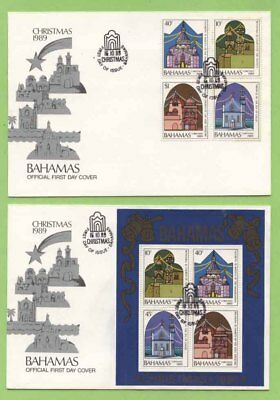 Bahamas 1989 Christmas set & miniature sheet on First Day Cover
