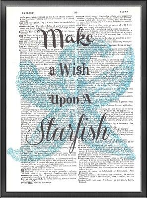 Wish Upon A Starfish Teal Altered Art Print Upcycled Vintage Dictionary Page