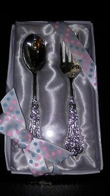 Little Wishes 1st Silver Spoon Fork set Christening/Baby Shower gift  girl/boy
