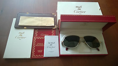 2c6f1fd959f Authentic Rare Vintage Cartier Panthere GM Platinum Gold Sunglasses France