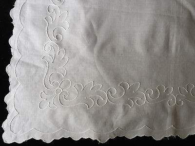 Small VINTAGE white on white embroidered tablecloth Chainstitch