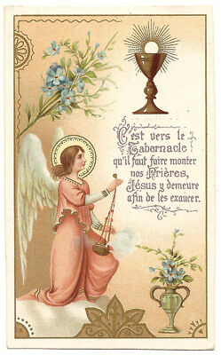 1905 Antique Vintage French Holy Prayer Card Angel & Communion Chalice