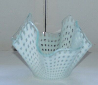Vintage Small Handkerchief Vase-White Basket Weave  Pattern