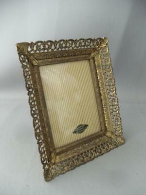 VTG 24K GOLD PLATED BRASS or METAL FILIGREE CONVEX GLASS PICTURE FRAME w LABEL