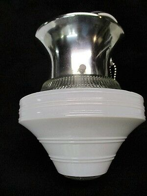 Art Deco Ceiling Light Kitchen Bathroom Chrome Fixture White & Clear Glass Shade