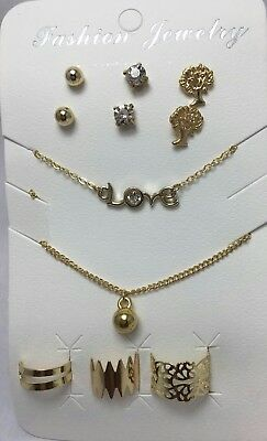 Women Gold 2 Necklace , 3 Earrings, 3 Toe Ring& Ring