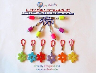 12 PCS FLEXIBLE KNITTING STITCH & PATTERN MARKER SET FIT NEEDLES 6.0 & 4.0mm