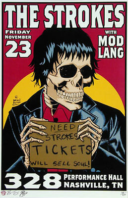 The Strokes w/Mod Lang _RARE/300 Concert Poster by Brian Ewing - 2001 Nashville