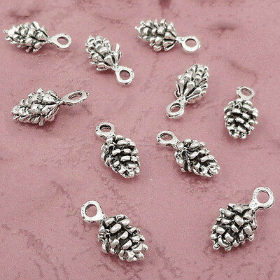 Large Pinecone Charm Antique Silver Pine Cone Pendant Forest Woodland 20pc