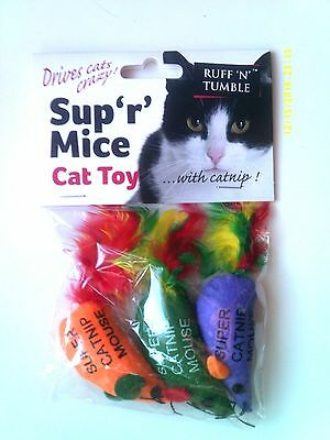 Ruff 'n' Tumble Sup 'r' Mice Catnip Toy ( 3 Pack ) With Organic Catnip