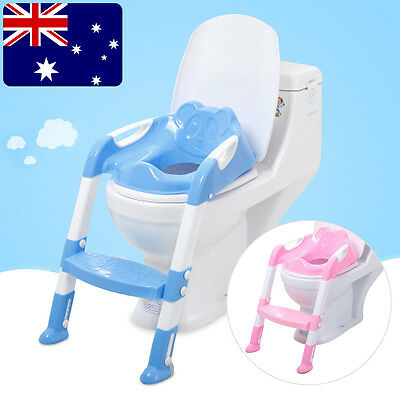 Kids Baby Safety Adjustable Toilet Ladder Seat Chair Step Stool Potty Training O