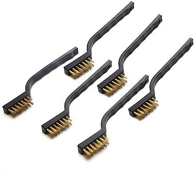 EBoot Mini Wire Brush Set For Cleaning Welding Slag And Rust, 6 Pack, Brass