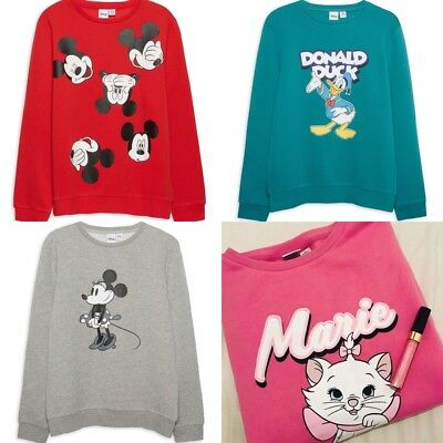 Primark Ladies Girls Disney Marie Mickey Donald Sweatshirt Sweater Womens Jumper