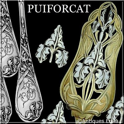 Puiforcat Rare French Sterling Silver 18k Gold Pie, Pastry or Fish Server Iris
