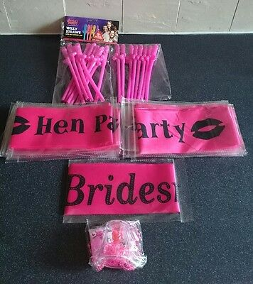 Hen party items 18 straws, 21 hen party  sashes and 17 shot glasses. Brand new