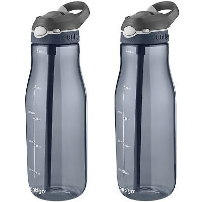 Contigo AUTOSPOUT Ashland 40oz Plastic Water Bottle w/Straw Smoke Grey (2-Pack)
