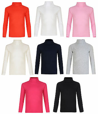 Girls Kids Children New Winter Plain Polo Neck Long Sleeve Top T-Shirt Age 2-13