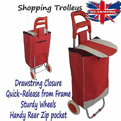 Red Showerproof Shopping Bag Trolley Cart Lightweight Insulated with wheel
