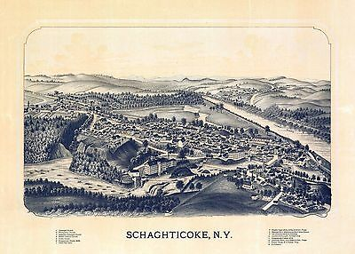 ny165 Antique old map NEW YORK STATE genealogy family history SCHAGHTICOKE c1889