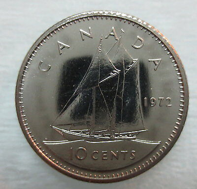 1972 Canada 10 Cents Proof-Like Dime Coin