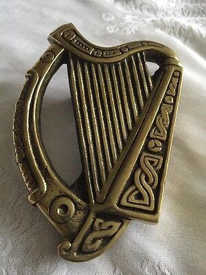 Antique Irish Harp Door Knocker Celtic Brass Vtg