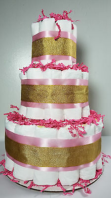 3 Tier Diaper Cake - Pink and Gold Baby Girl Diaper Cake