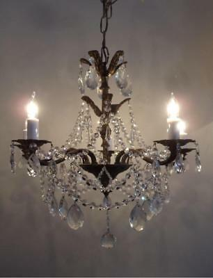 ANTIQUE SHABBY VTG CHIC BRASS & CZECH CRYSTALS PETITE CHANDELIER w CANOPY