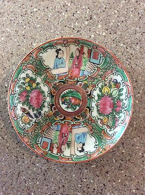 Antique Chinese Porcelain Rose Medallion Plate Saucer Mid To Late 1800's