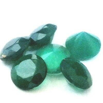 NATURAL EYE-CATHING BLUISH GREEN CHALCEDONY GEMSTONES (9pc - 5 - 6 mm) ROUND CUT