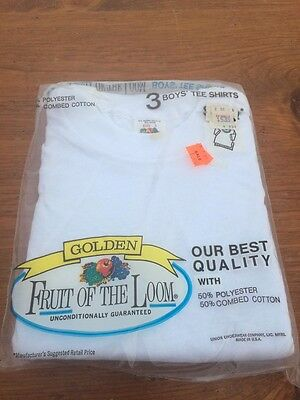 NOS VTG FRUIT of LOOM GOLDEN Boys T-SHIRTS White Sz 2 Made In USA