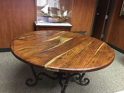 Vintage Mesquite Custom Antique Dining Table with Wrought Iron Base.