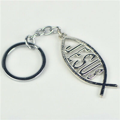 Religious silver Plated Christian Symbol Jesus Fish Key Ring for Inspiration