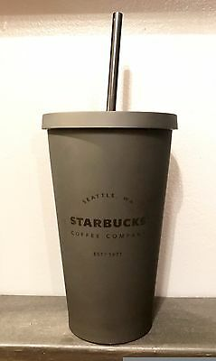 Starbucks Tumbler Matte Black Cold Drink Cup 16oz Travel Acrylic Grande 2016