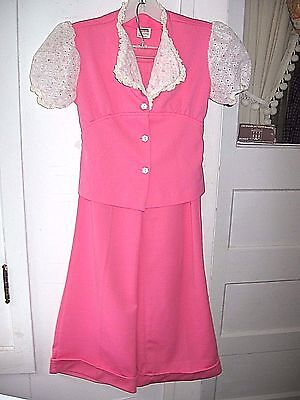 VINTAGE1960-70 MONTGOMERY WARD CHILDS 2pc HOT PINK/WHITE BELLBOTTOM PANTSUIT-TOP