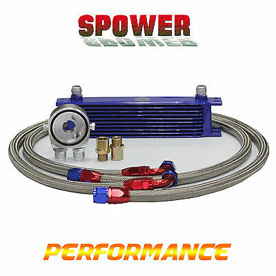 10Row AN10 Universal Engine Transmission Oil Cooler Blue + Filter Relocation Kit