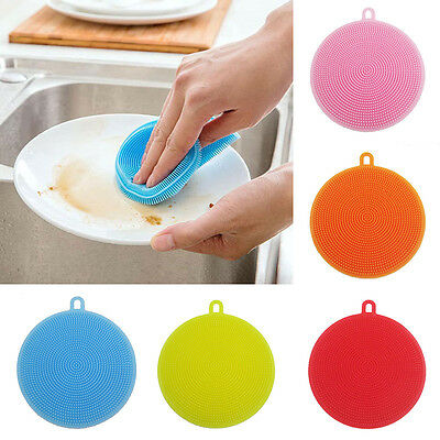 Silicone Sponge Scrubber Kitchen Soft Tool Fruit Dish Washing Household Cleaning