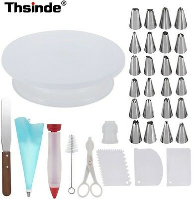 NEW Cake Decorating Supplies Kit With Cake Tilting Turntable Decor 360 Rotating