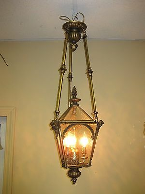 High Quality 1920-30s Hanging Brass and Glass Pendant Light