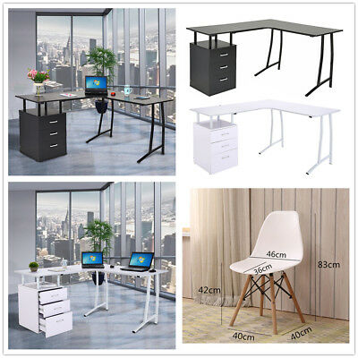 3 Drawers Modern Computer PC Table Workstation Desk Study Home Office Chair