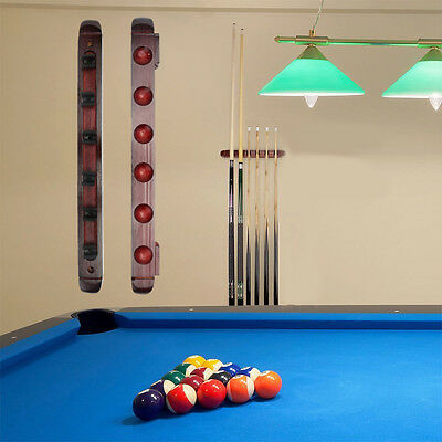 6 Clips Wooden Cue Wall Rack Mounted Stick Holder Pool Billiard Snooker Cue Rack