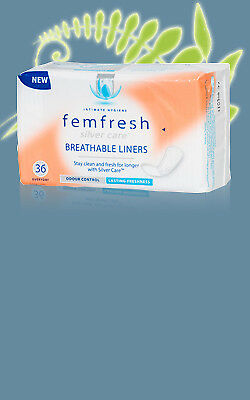 NEW Femfresh Silver Care Breathable liners 36