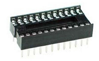 "5off 24 pin 0.3"" width DIL IC socket DIP ROHS compliant 24pin PCB - UK Seller"